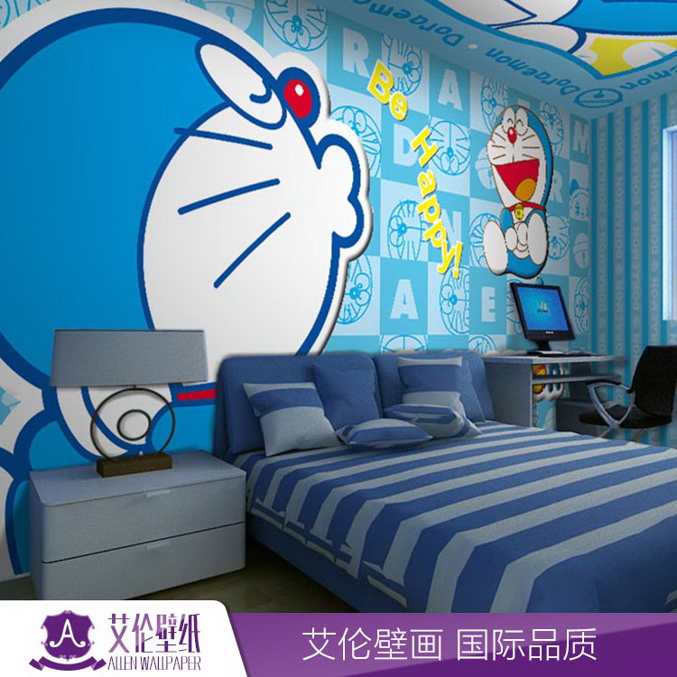卧室电视背景墙壁纸叮当猫儿童多啦a梦墙纸可爱卡通无缝大型壁画