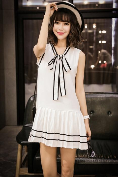 【【朵姿】领带蝴蝶结雪纺连衣裙】-衣服-连衣裙