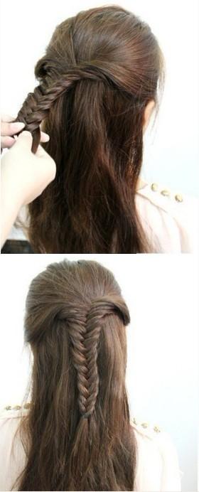 第一款:鱼骨辫公主头 步骤一:将头发分成上下两个区域