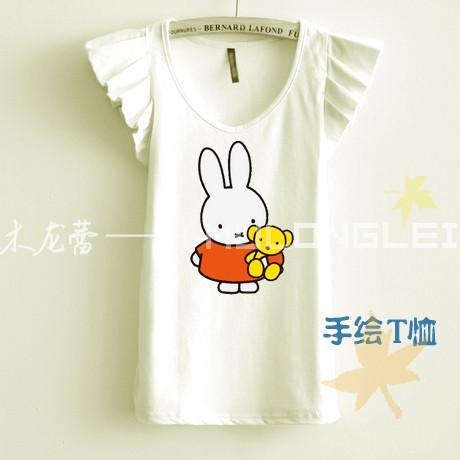 手绘纯棉t恤萌米菲小兔子日系卡通可爱萝莉短袖飞袖