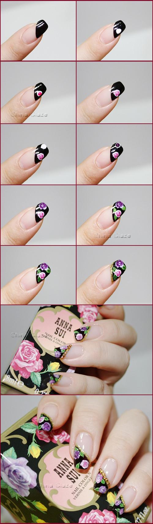 第三步 点上白色 再用紫色指甲油 打圈,第四步 用美甲笔画上叶子,第五
