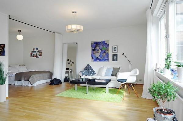 北欧装修效果图 窗帘巧妙隔断客厅与卧室 wbr 90后美女45
