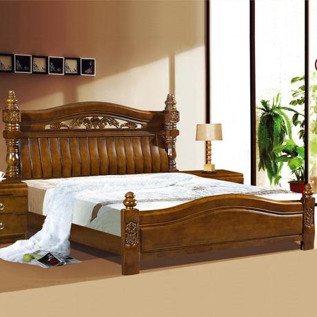 伊乐琦欧式实木大床 双人床 婚床 高档雕花实木床 橡木床801,点这里