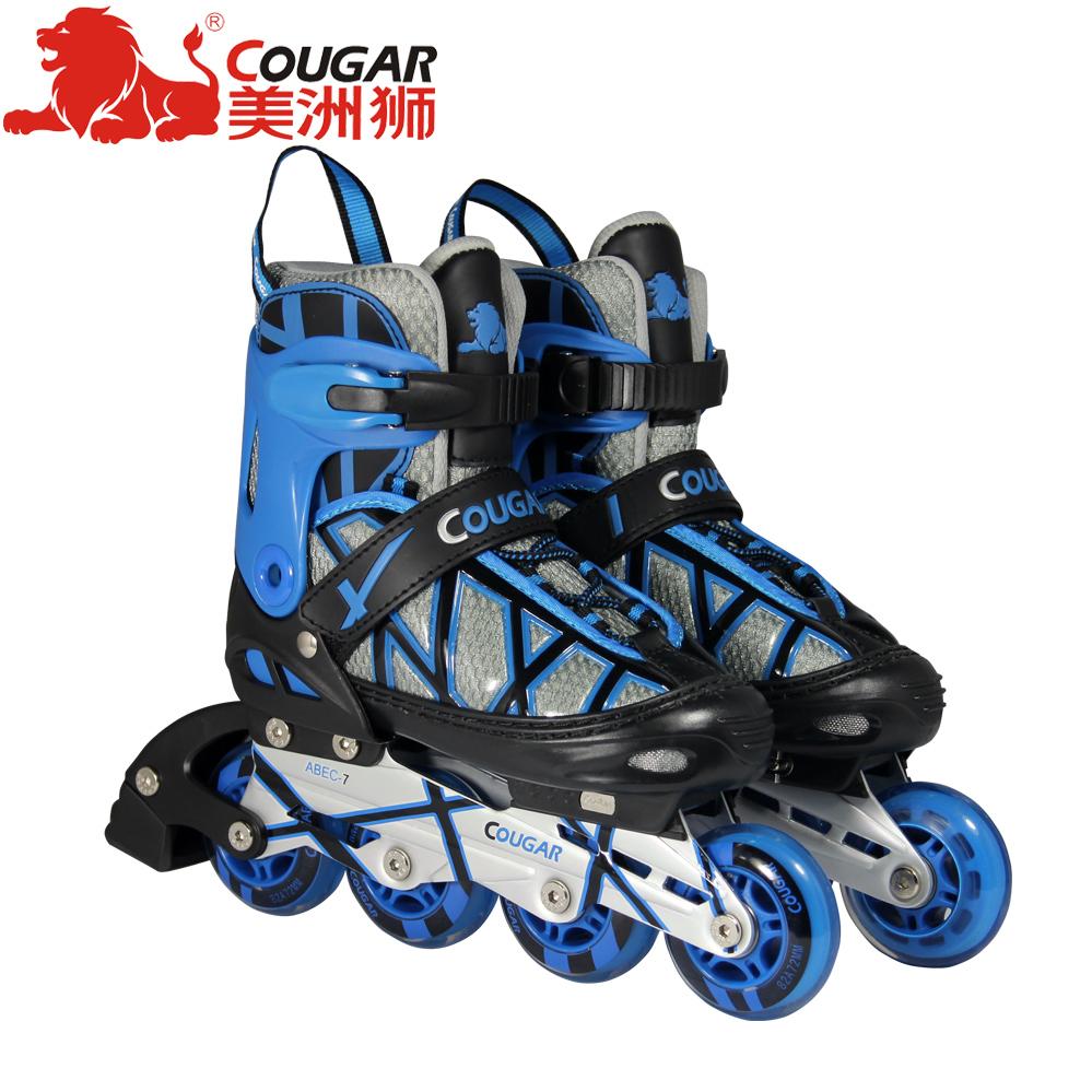 美洲狮溜冰鞋可调儿童 直排轮滑鞋 成人滑冰鞋 男女