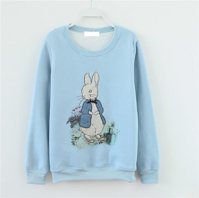 可爱小兔子绣花加绒卫衣