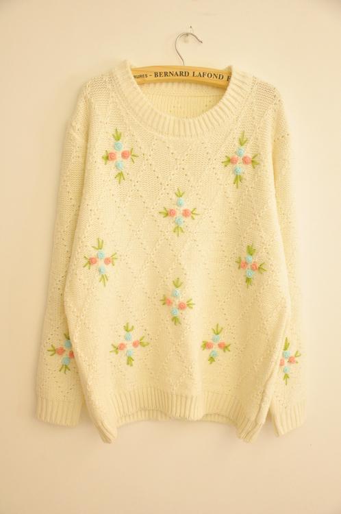 小清新花朵毛衣
