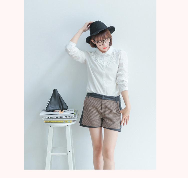 【韩版小清新花边衬衫】-衣服--格调衣莎-蘑菇街优店