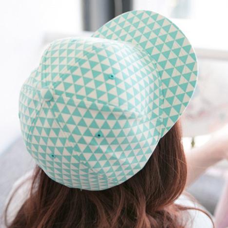 荧光几何三角形格子棒球帽子