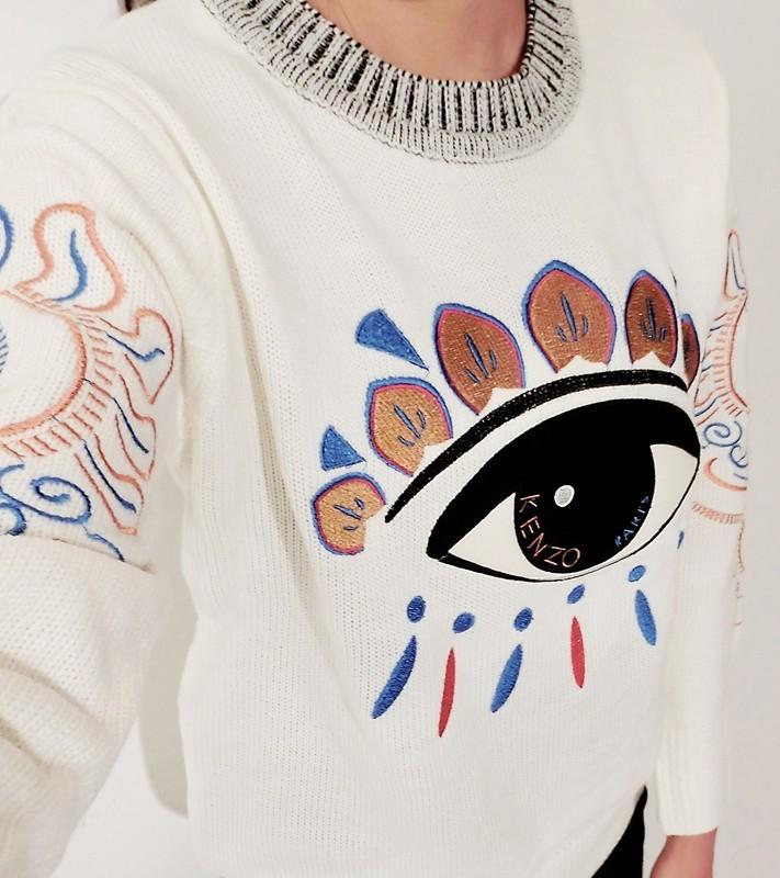 可爱大眼睛图案刺绣针织毛衣
