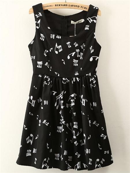 【黑白音符无袖高腰连衣裙】-衣服-裙子_连衣裙_服饰