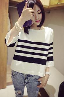 韩版宽松条纹针织T恤