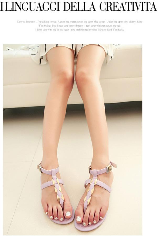 【英伦夹趾平跟鞋】-衣服-凉鞋