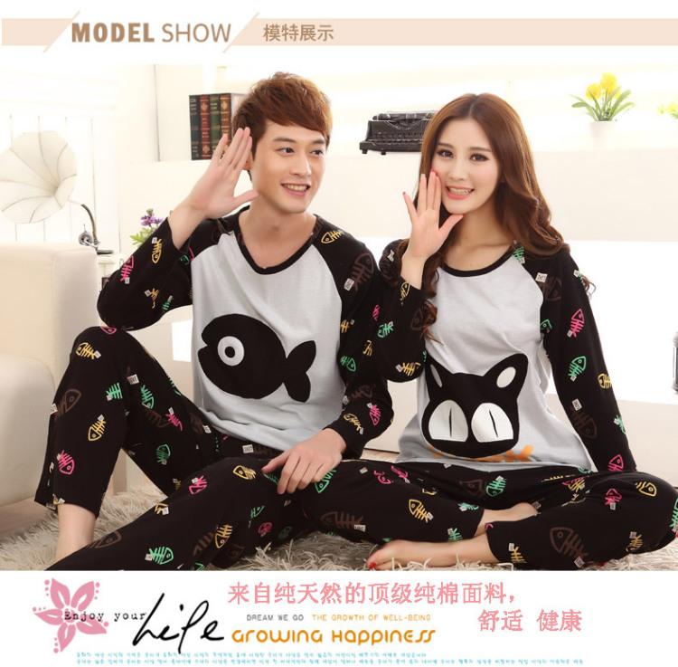 【可爱卡通猫和鱼情侣睡衣】-衣服-睡衣/家居服套装