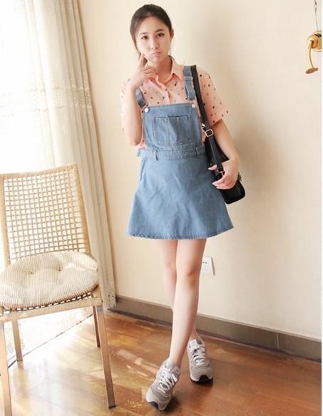 【口袋牛仔背带裙】-衣服-连衣裙