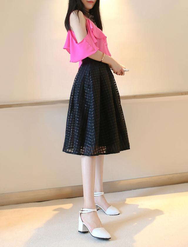 【甜美格纹超仙雪纺公主半身裙】-衣服-半身裙