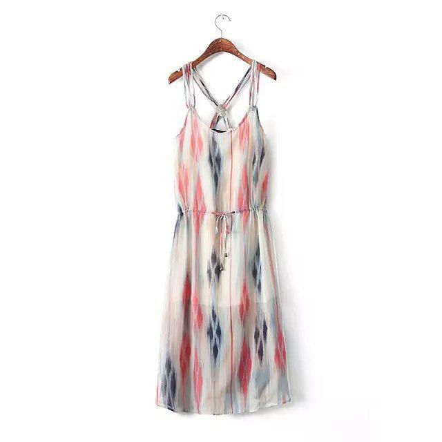 扎染民族风雪纺吊带连衣裙