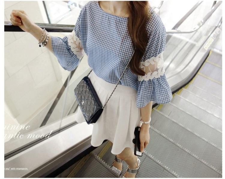 【西瓜家花边拼接袖子格子衬衫】-衣服-衬衫