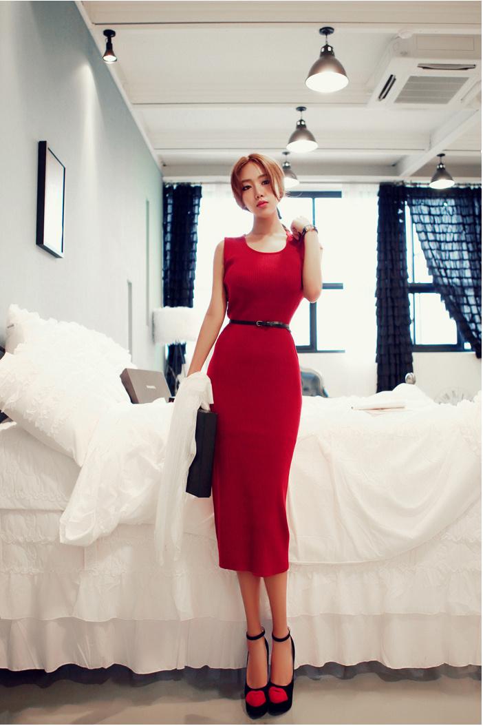 【性感修身大红色无袖连衣裙】-衣服-裙子