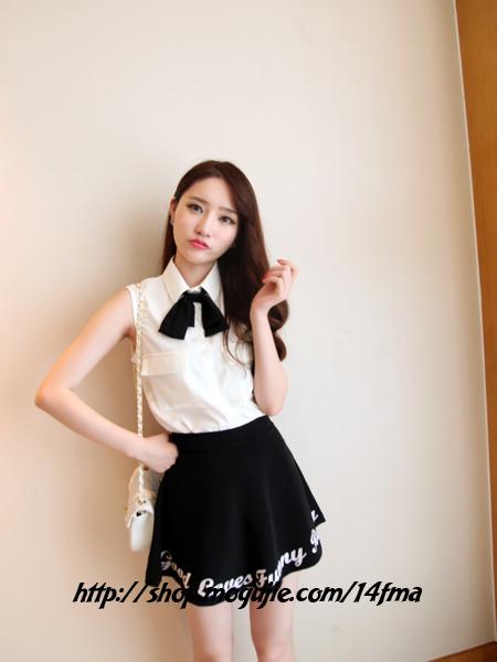 【蝴蝶结领带无袖雪纺衬衫】-衣服-衬衫