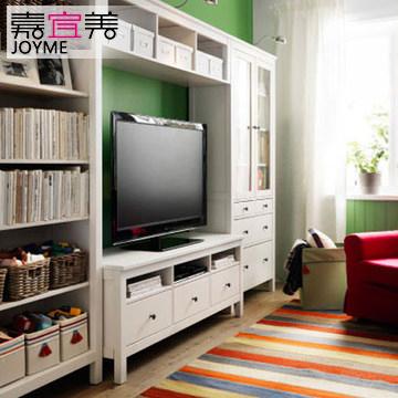 嘉宜美简欧电视柜组合电视机柜背景墙欧式实木电视柜