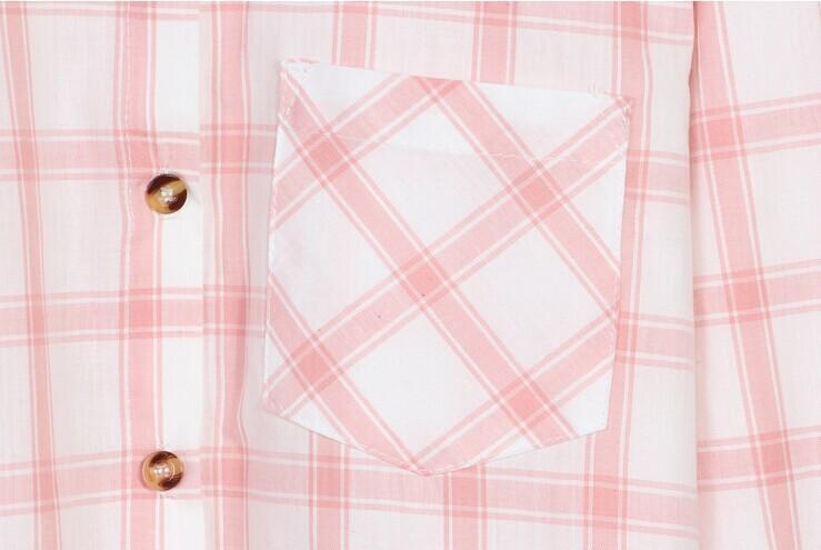 韩国 小清新格子宽松衬衫