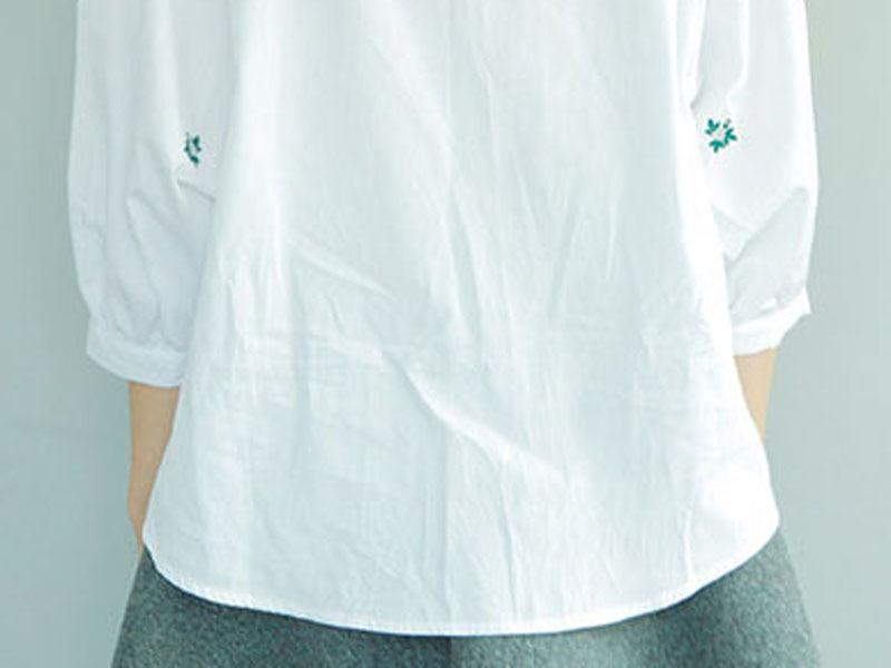 韩版新款蝙蝠袖刺绣衬衫