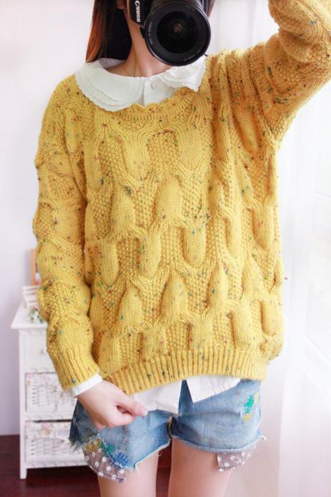 【小清新花边领套头毛衣】-衣服-其他毛衣