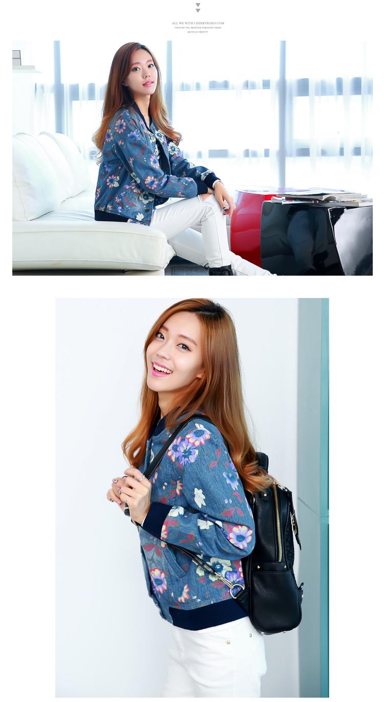 【韩版水粉手绘花朵长袖牛仔外套】-衣服-其他外套