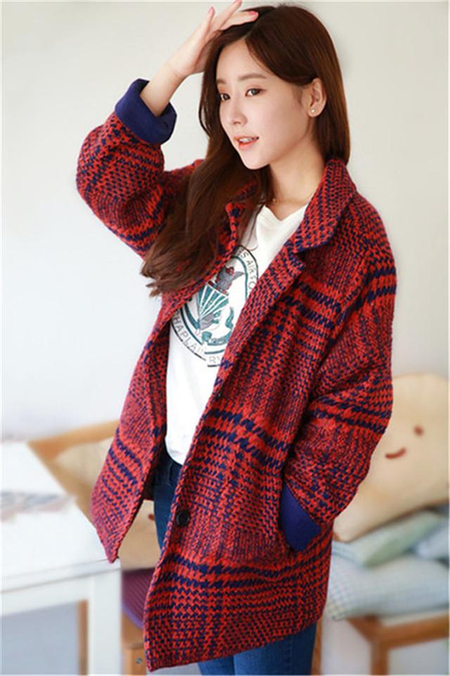 【图】韩版宽松红色格子毛呢外套搭配/价格-把爱变成