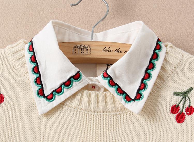 小清新刺绣樱桃长袖毛衣