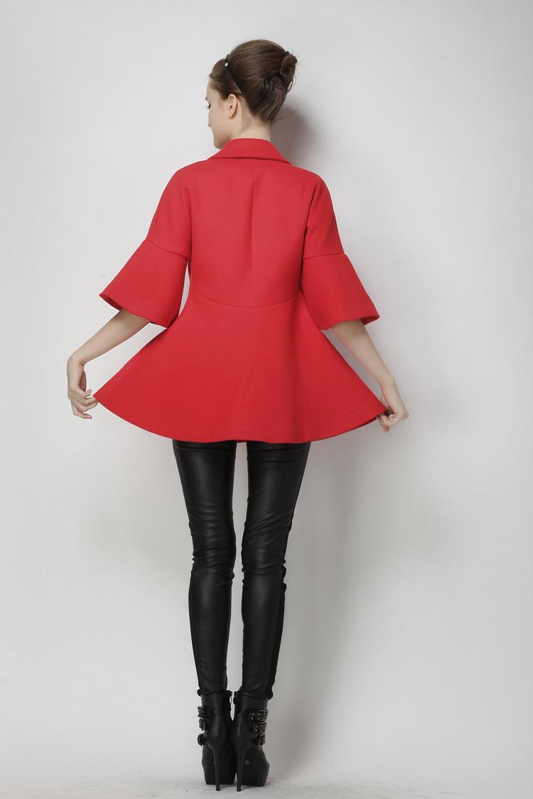 【欧美大牌蝙蝠袖红色斗篷毛呢外套】-衣服-毛呢外套