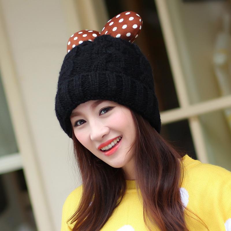 韩版可爱多蝴蝶结毛线加绒帽子