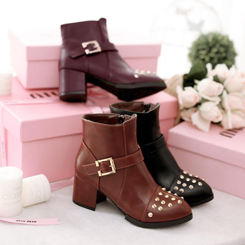【洛丽塔 新品铆钉及踝短靴】-鞋子-靴子_女鞋_服饰鞋