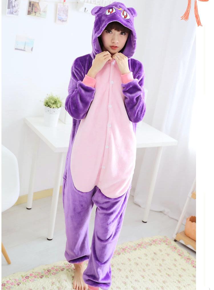 法兰绒紫猫动物连体睡衣