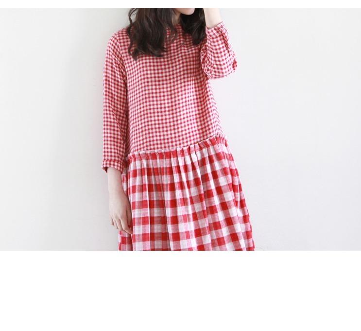 【欧式宫廷风格纹拼接百褶连衣裙】-衣服-裙子