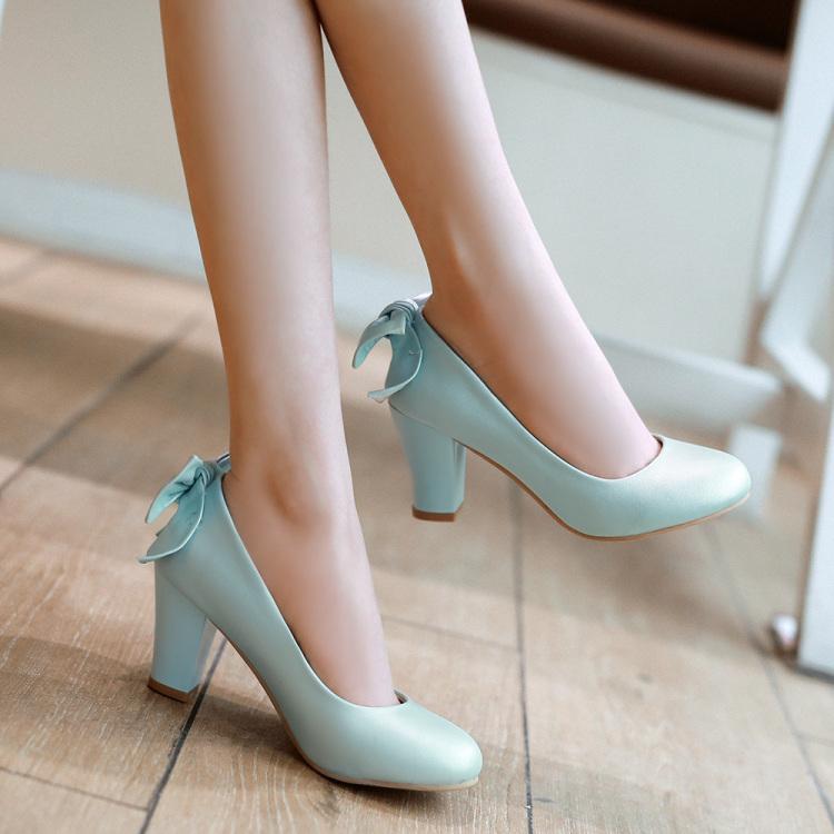 小公主 后蝴蝶结粗跟甜美单鞋