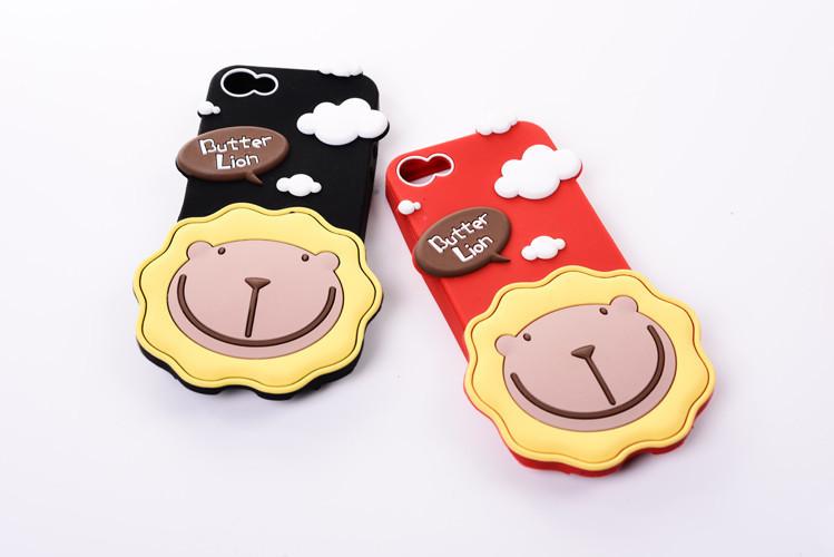 可爱奶油狮苹果硅胶手机壳