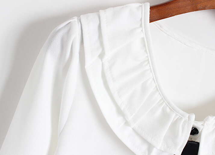 【学院风甜美蝴蝶结长袖衬衫】-衣服-服饰鞋包
