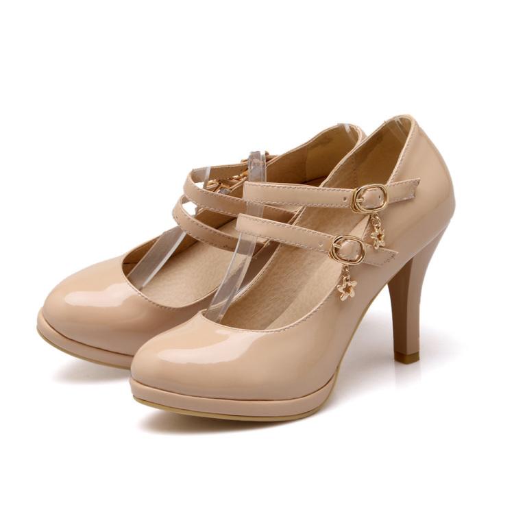 小公主 高跟气质祼色浅口单鞋
