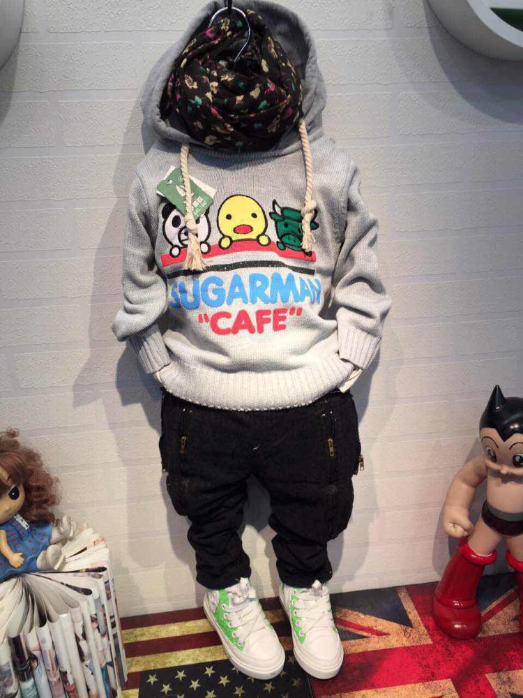 自己生产毛衣,全棉针织,带帽子,电脑绣花可爱小动物,字母发泡印花