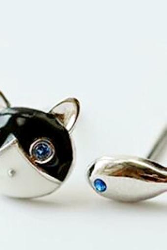 猫和鱼 不对称耳钉 卡通可爱