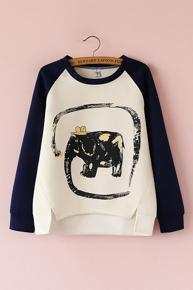 【【蛰居】春新款大象图案印花卫衣】-衣服-卫衣/绒衫