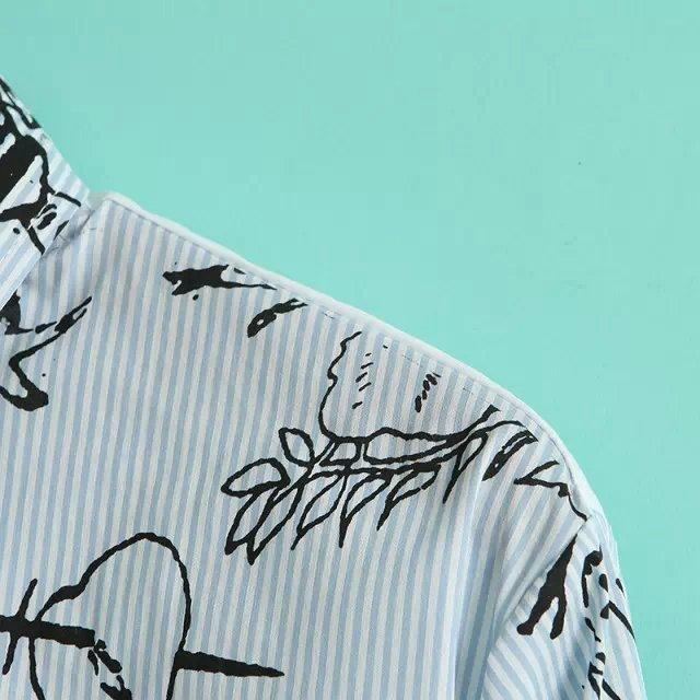 手绘图案搞怪翻领衬衫