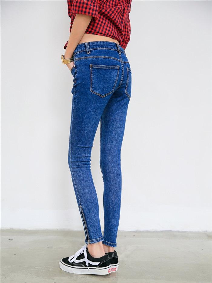 显瘦拉链提臀小脚牛仔裤女