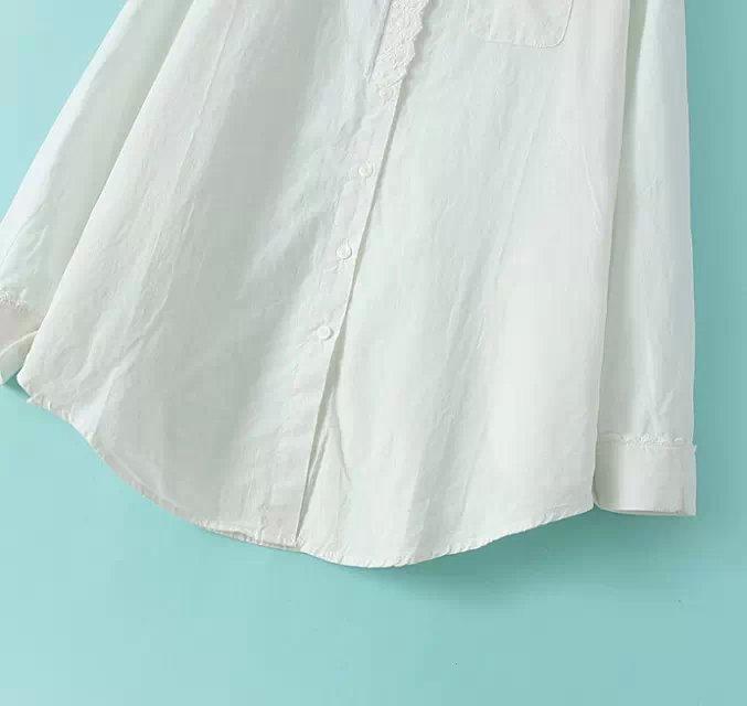 森女系花边领白色衬衫