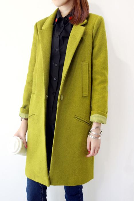 2015春季新款修身中长款呢子大衣