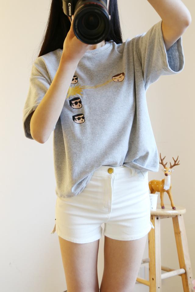 三木家 童趣可爱刺绣人头t恤