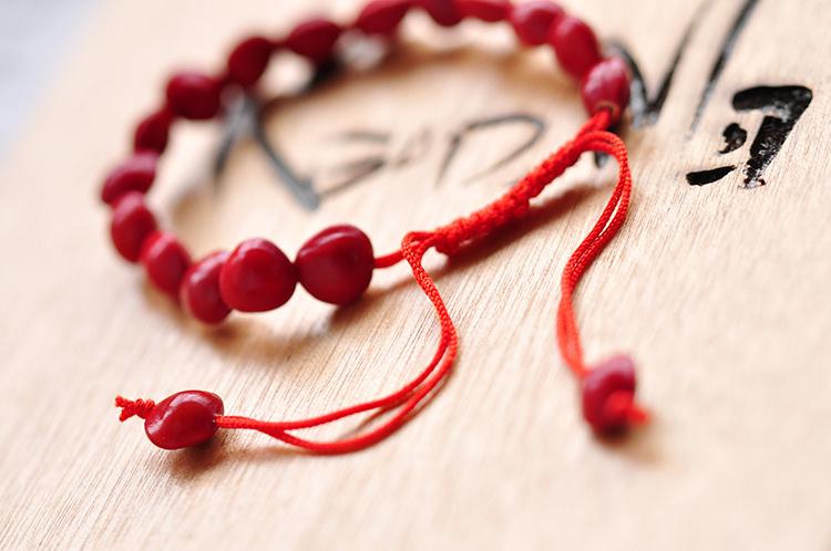 手工编制 相思红豆红绳手链