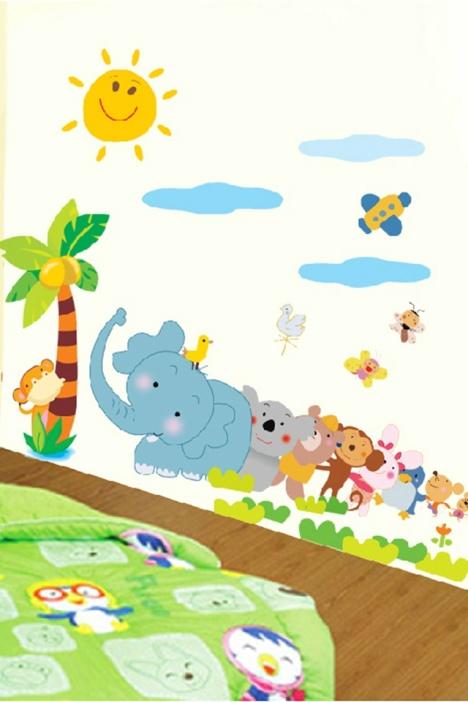 可爱卡通欢乐动物墙贴】-家居-贴饰