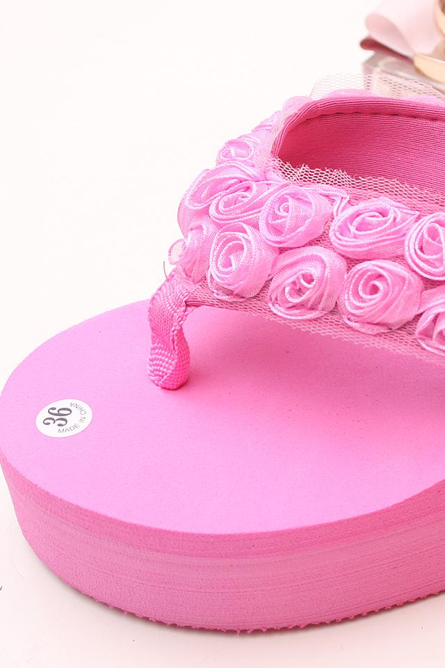 蕾丝玫瑰花朵坡跟凉拖鞋